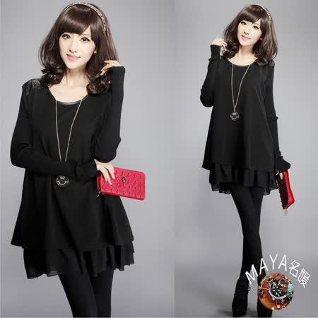 【Maya 名媛】(M~4XL)冬季針織毛衣料多層次感大碼連衣裙-黑色