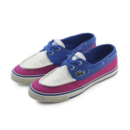 (女)LACOSTE BATEAU SRW DK PNK/BLU CNV 休閒鞋 螢光粉/淺藍-RW5355-2K4