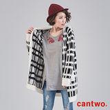 cantwo不規則格紋針織開襟罩衫(共三色)