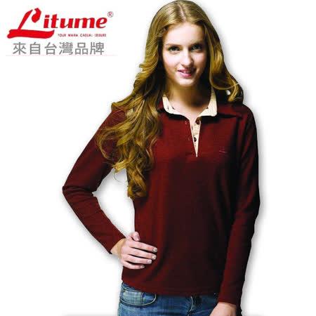 【意都美Litume】淑女保暖休閒衫.保暖極佳_暗紅 P9138