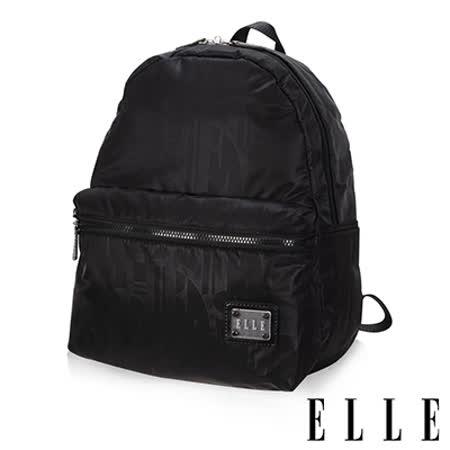 ELLE 法式優雅休閒 輕細尼龍防潑水 iPad/10吋平板機能後背包-優雅黑EL83828-02