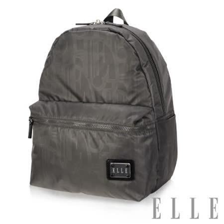 ELLE 法式優雅休閒 輕細尼龍防潑水 iPad/10吋平板機能後背包-優雅灰EL83828-09
