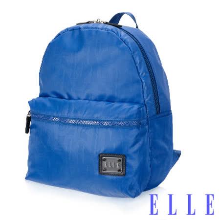 ELLE 法式優雅休閒 輕細尼龍防潑水 iPad/10吋平板機能後背包-海藍色EL83828-42