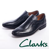 Clarks (男) 線條設計直套皮鞋男鞋-黑