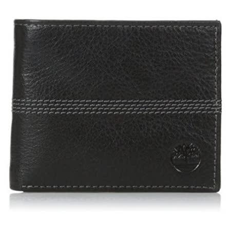 Timberland 2015男時尚Quaz黑色薄型雙折色皮夾【預購】
