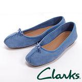 Clarks(女)FRECKLE ICE 休閒蝴蝶結平底鞋女鞋-藍