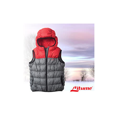 【意都美 Litume】兒童新款 立體配色輕量防潑水透氣連帽保暖羽絨背心(熱賣款)_灰 C800