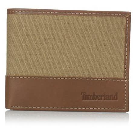 Timberland 2015男時尚卡其棕帆布皮革雙折色皮夾【預購】