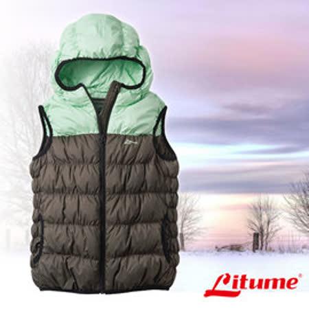 【意都美 Litume】兒童新款 立體配色輕量防潑水透氣連帽保暖羽絨背心(熱賣款)_綠 C800