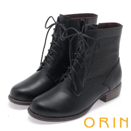 ORIN 中性時尚 飽和色調編織造型牛皮綁帶低跟靴-黑色