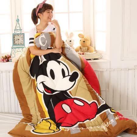 Disney迪士尼㊣版米奇《童年復刻-褐》多功能毯被