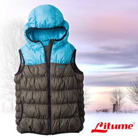 【意都美 Litume】兒童新款 立體配色輕量防潑水透氣連帽保暖羽絨背心(熱賣款)_墨綠 C800