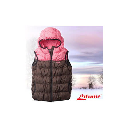 【意都美 Litume】兒童新款 立體配色輕量防潑水透氣連帽保暖羽絨背心(熱賣款)_咖啡 C800