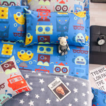 OLIVIA《 機器紀元 藍 》特大雙人床包枕套三件組