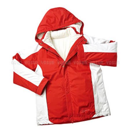 【意都美Litume】↘下殺出清 3 in 1 二件式 童防水透氣夾克(內100%水鳥羽絨外套)_紅/白灰 F8010