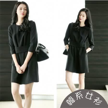 【韓系女衫】(s~xl)冬季純色都會風情長袖簡約洋裝-黑色