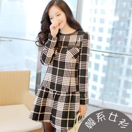 【韓系女衫】(M~2XL)冬季加厚呢絨格紋底裙擺連身裙