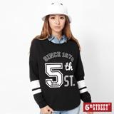 5th STREET 落肩印花長袖T恤-女-黑色