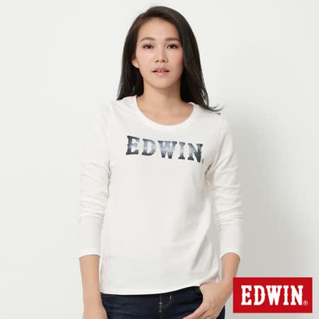 EDWIN 牛仔布紋LOGO長袖T恤-女-米白色