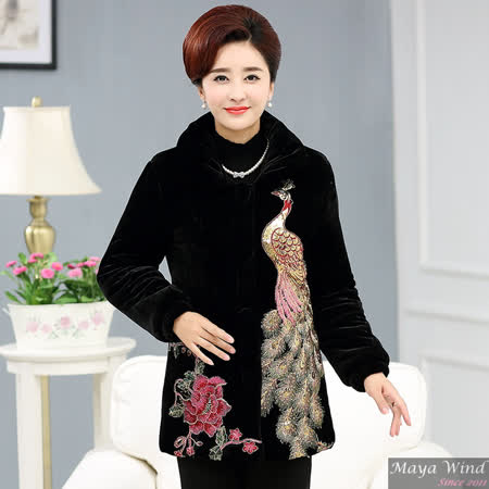 【Maya 風姿】精緻鳳凰+牡丹刺繡金絲絨外套(黑色 XL~5XL)