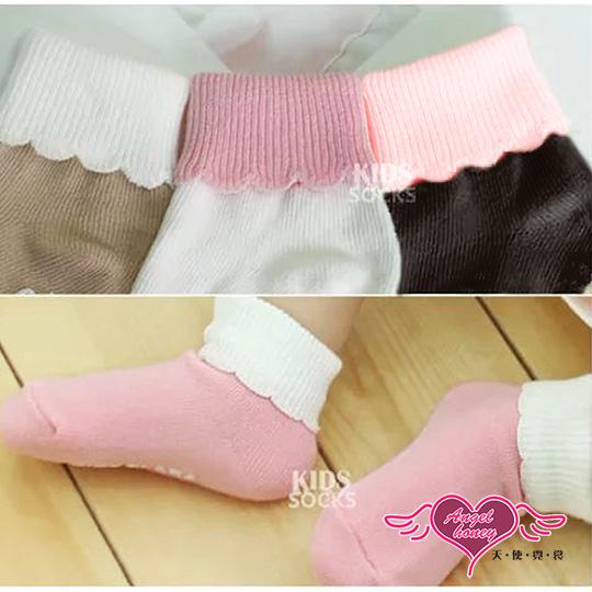 【天使霓裳】花邊雙色反摺短襪兒童襪子-2雙入(四色)