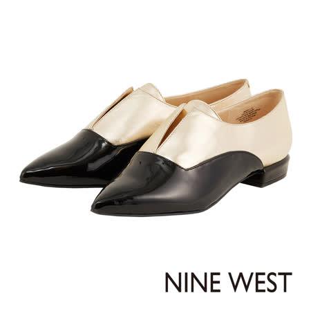NINE WEST--雙色拼接尖頭平底鞋--金黑色