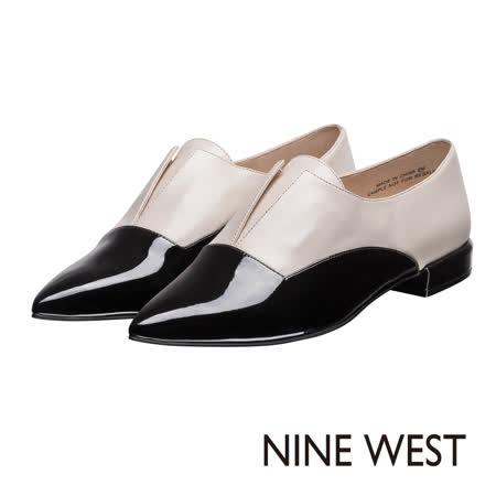 NINE WEST--雙色拼接尖頭平底鞋--裸黑色