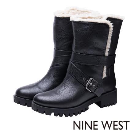 NINE WEST--輪胎底毛料內裡翻摺式工程靴--帥氣黑