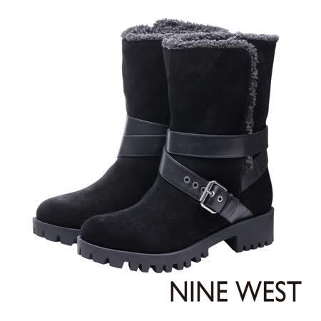 NINE WEST--輪胎底毛料內裡翻摺式工程靴--麂皮黑