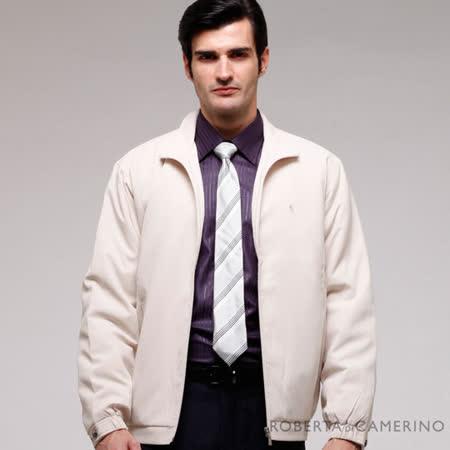 ROBERTA諾貝達 台灣製 休閒百搭 內裡舖棉 夾克外套 米白