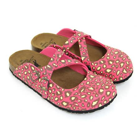 【Pretty】甜美豹紋交叉前包後空拖鞋