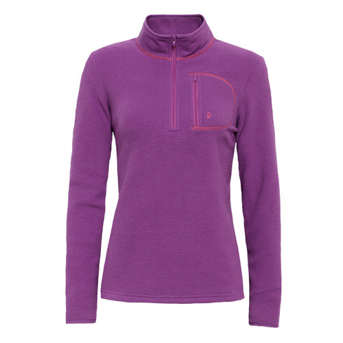 【hilltop山頂鳥】女款Zisofit保暖刷毛半開襟拉鍊上衣H51FF1-紫