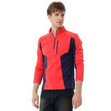 【hilltop山頂鳥】男款Zisofit保暖刷毛半開襟拉鍊口袋上衣H51MG0-紅