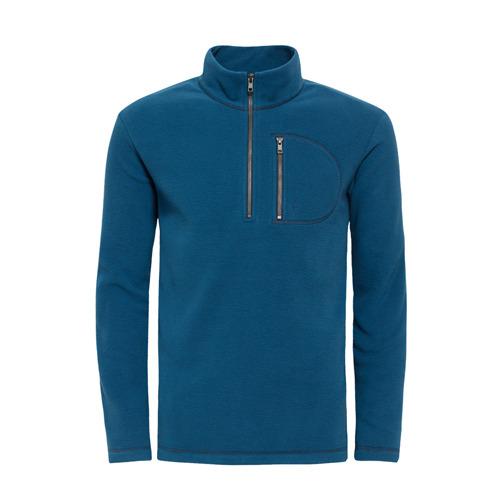 【hilltop山頂鳥】男款Zisofit保暖刷毛半開襟拉鍊上衣H51MF0-深藍