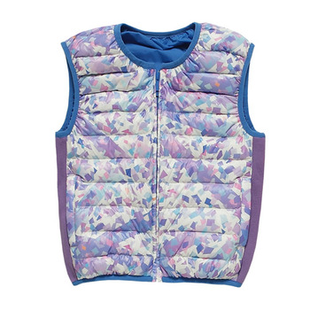 【hilltop山頂鳥】兒童款耐濕羽絨雙面內背心F25CF1-紫/藍