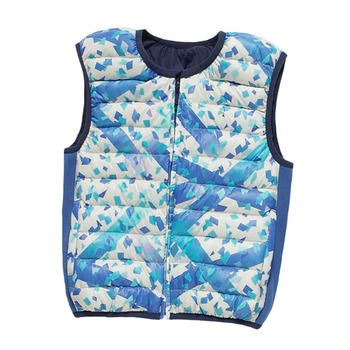 【hilltop山頂鳥】兒童款耐濕羽絨雙面內背心F25CF2-藍/印花