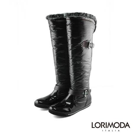 【LORIMODA】 泡泡靴管戚面平底高統靴防滑底 BURNO.1(黑色)