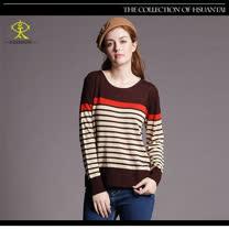 玄太-素雅條紋配色變化織紋針織衫(咖啡)
