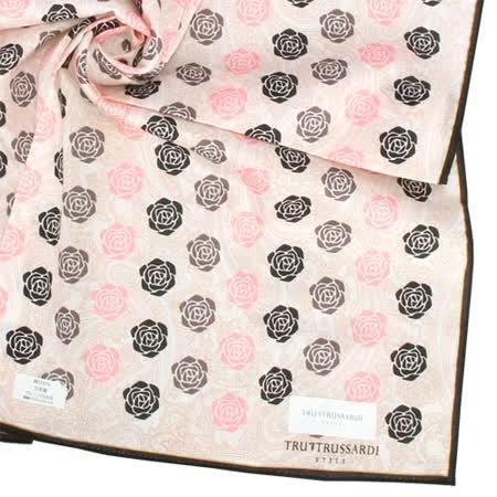 TRUSSARDI 新款滿版玫瑰圖紋純棉帕巾-粉橘色