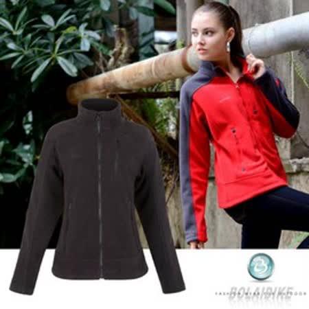 【波萊迪克bolaidike】女款保暖刷毛外套 .刷毛.輕量.蓄熱_黑/黑 TP613