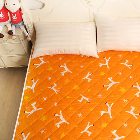 義大利Fancy Belle X Malis《小飛馬-粉橘》防蹣抗菌透氣防水平面式保潔墊--加大