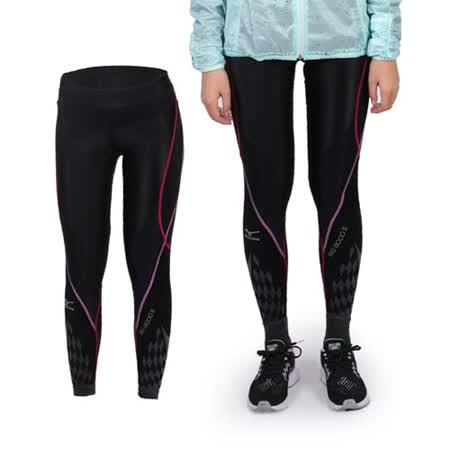 (女) MIZUNO BG8000 II緊身長褲- 慢跑 路跑 抗UV 黑桃紅紫