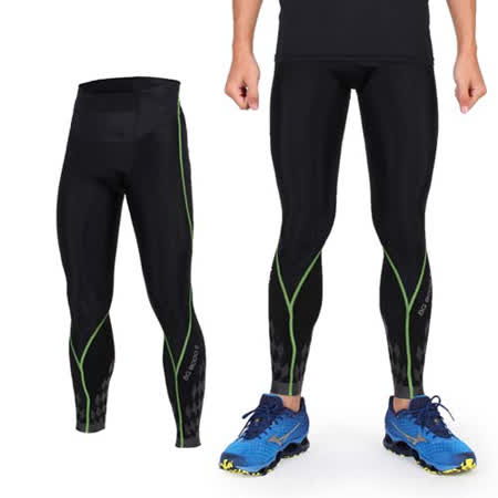 (男) MIZUNO BG8000 II緊身長褲- 慢跑 路跑 抗UV 黑螢光綠