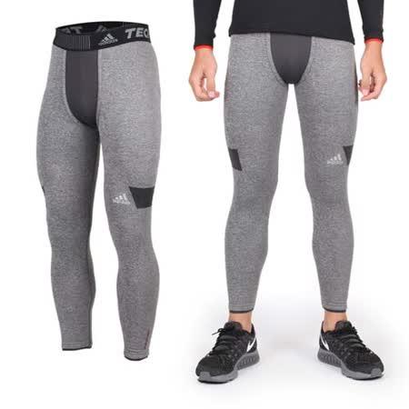 (男) ADIDAS 保暖緊身長褲- 刷毛 愛迪達 灰黑