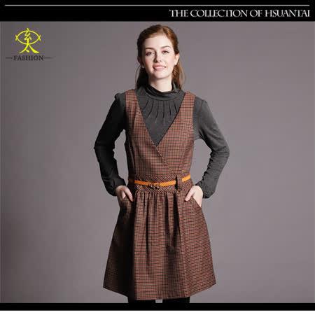 玄太-典雅細格紋毛料背心洋裝(褐)