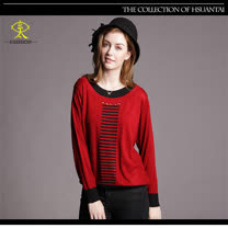 玄太-典雅圓領拼接造型針織上衣(紅)