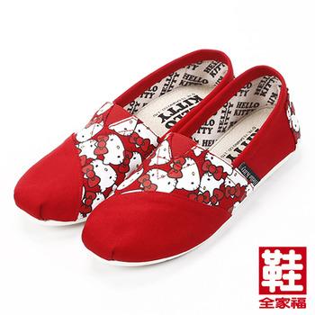 (女) HELLO KITTY  拼布休閒鞋 紅 鞋全家福
