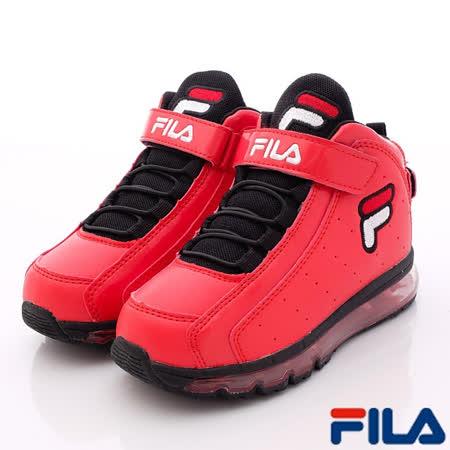 FILA頂級童鞋-全氣墊復古籃球鞋-813P-202紅-(21cm~24cm)