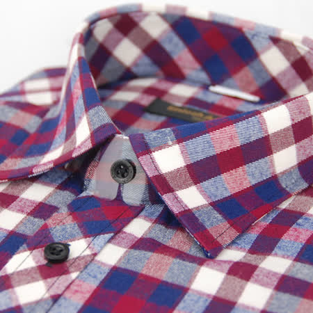【金安德森】紅藍白格紋保暖窄版長袖襯衫