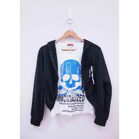 日本CIELO 現貨-個性骷顱T恤+短拉鍊連帽外套(黑色/M)